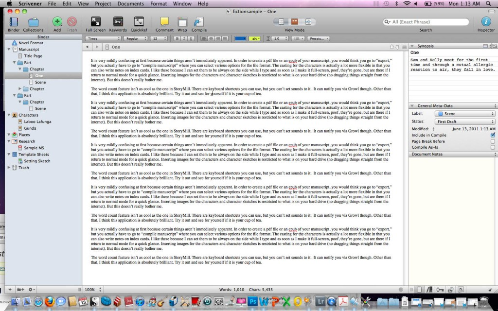 Screenshot of Scrivener Main Layout